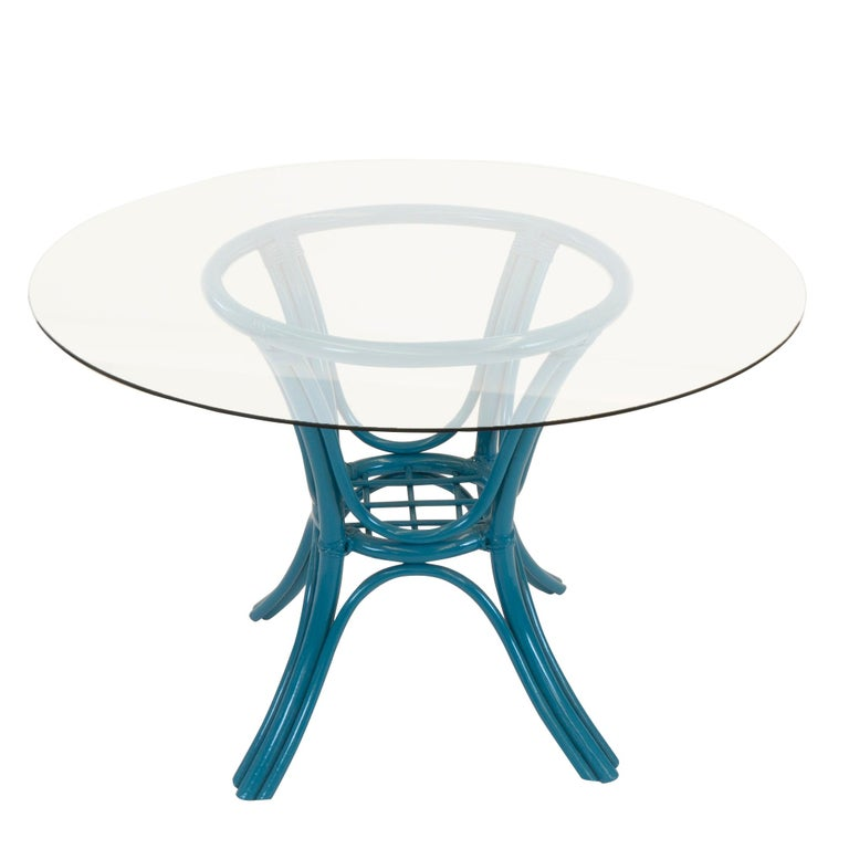 Round Dining Table with Rattan Base For Sale