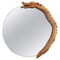 Round Dragon Motif Giltwood Mirror