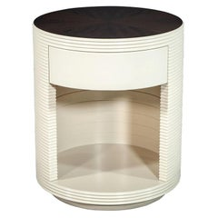 Round Drum Side Table with Starburst Top