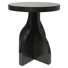Round Ebonized Oak Side Table by Bronsin Ablon
