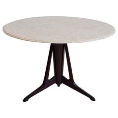 Round Ebonized Wood Table with Marble Top