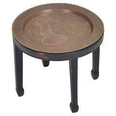 Round Embossed Copper Side Table with Lattice Brass Edge