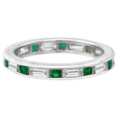 Round Emerald and Baguette Diamond Eternity Band