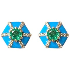 Round Emerald and Diamond Stud with Turquoise Enameling