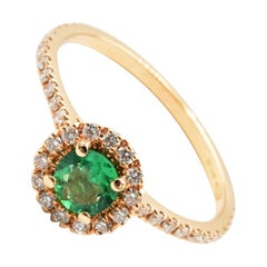Round Emerald and Diamonds Rose Gold Ring Made in Italy