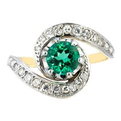 Round Emerald and Grain Set Diamond Ring Set in 18ct White Gold and Yellow Gold