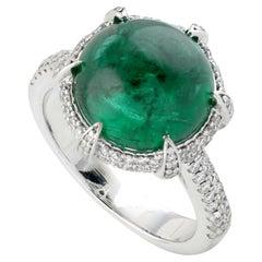 Round Emerald Cabochon Designer Ring in 18K White Gold
