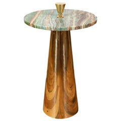 Round Emerald Green Onyx Marble and Brass Side or Martini Table, Italy