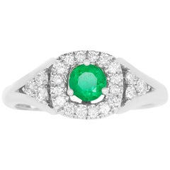 Round Natural Emerald Square Diamond Halo Engagement Ring 14K White Gold