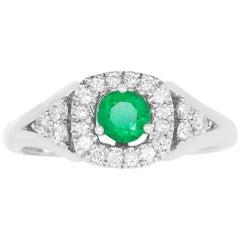 Round Emerald Halo Engagement Ring