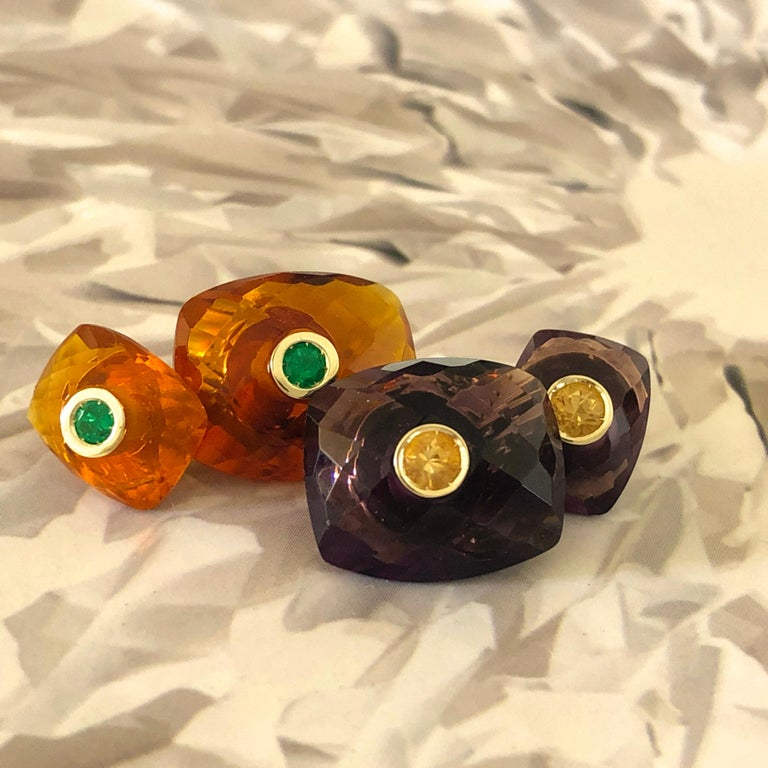 Berca Emerald Hand Inlaid Faceted Citrine Quartz Setting Yellow Gold Cufflinks For Sale 4