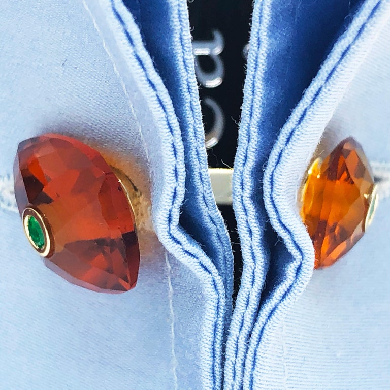 Berca Emerald Hand Inlaid Faceted Citrine Quartz Setting Yellow Gold Cufflinks For Sale 6