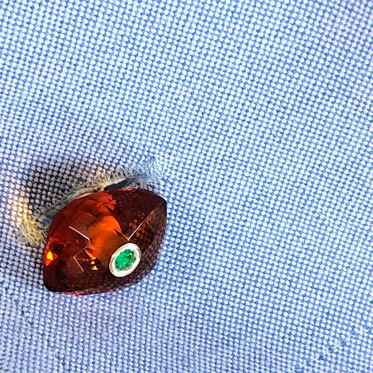 Berca Emerald Hand Inlaid Faceted Citrine Quartz Setting Yellow Gold Cufflinks For Sale 8