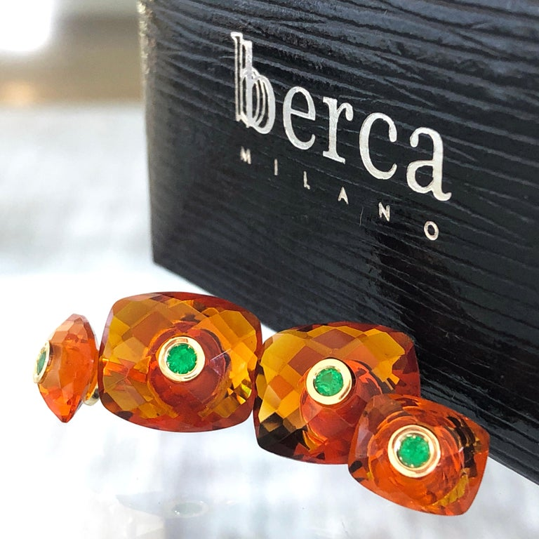 Contemporary Berca Emerald Hand Inlaid Faceted Citrine Quartz Setting Yellow Gold Cufflinks For Sale