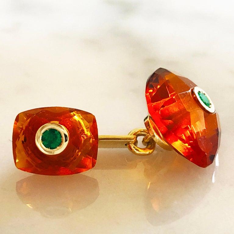 Emerald Cut Berca Emerald Hand Inlaid Faceted Citrine Quartz Setting Yellow Gold Cufflinks For Sale