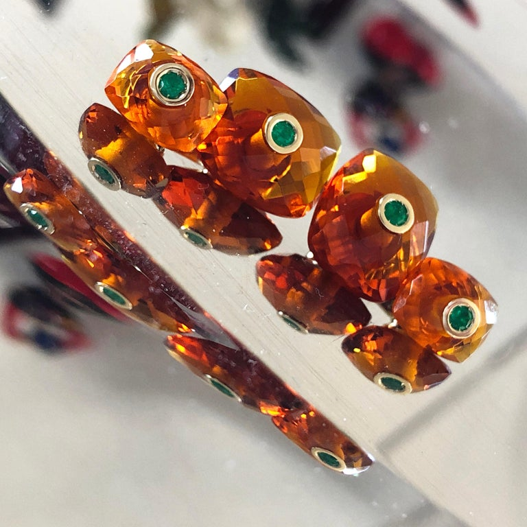 Men's Berca Emerald Hand Inlaid Faceted Citrine Quartz Setting Yellow Gold Cufflinks For Sale