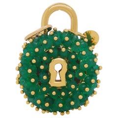 Round Emerald Lock Pendant Charm 14K Yellow Gold
