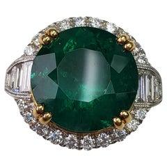 Round Emerald Ring with Diamonds