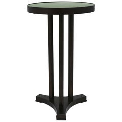 Round End Table with Painted Olive Green Glass Top and Dark Mahogany Base