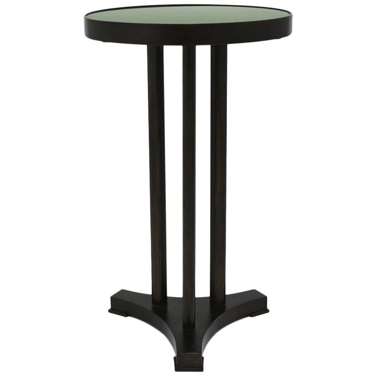 Round End Table with Painted Olive Green Glass Top and Dark Mahogany Base For Sale