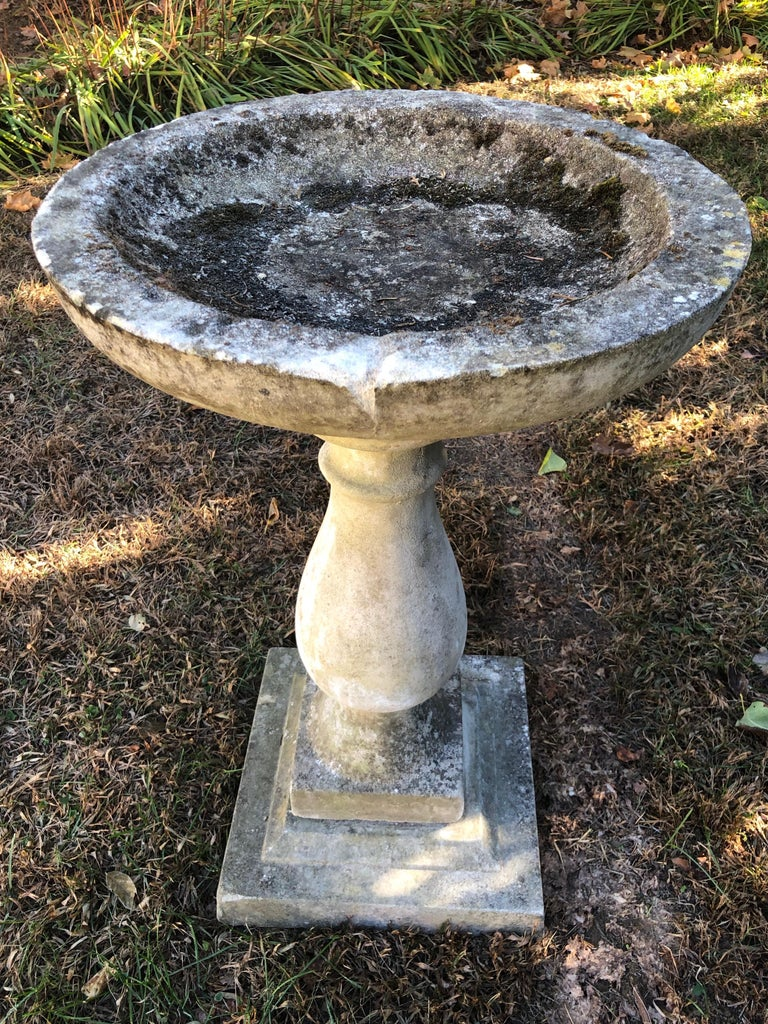 Round English Cast Stone Birdbath with Lovely Patina 4