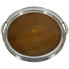 Round English Sterling Silver Gallery Tray with Wood Base and Pierced Border