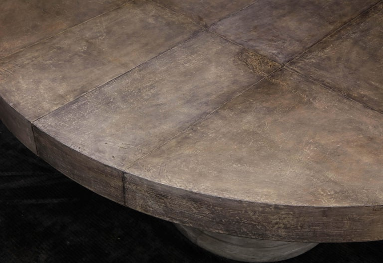Round Expandable Parchment Dining Table For Sale 2