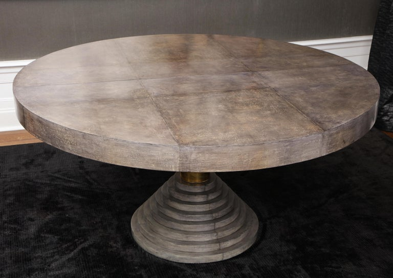 Modern Round Expandable Parchment Dining Table For Sale