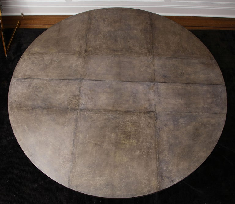 Philippine Round Expandable Parchment Dining Table For Sale