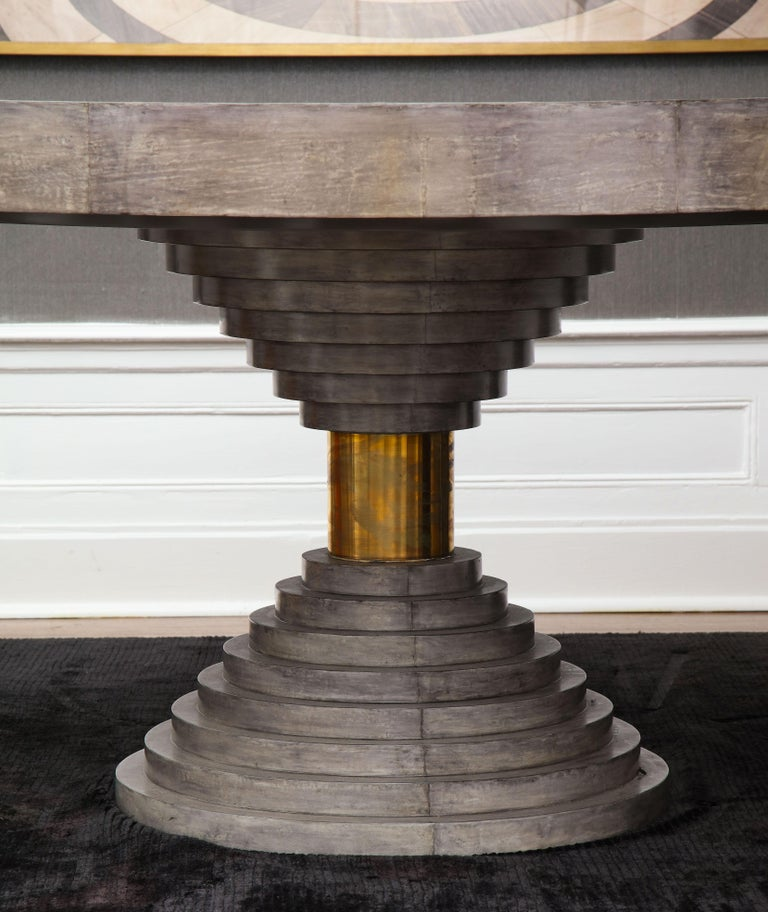 Brass Round Expandable Parchment Dining Table For Sale