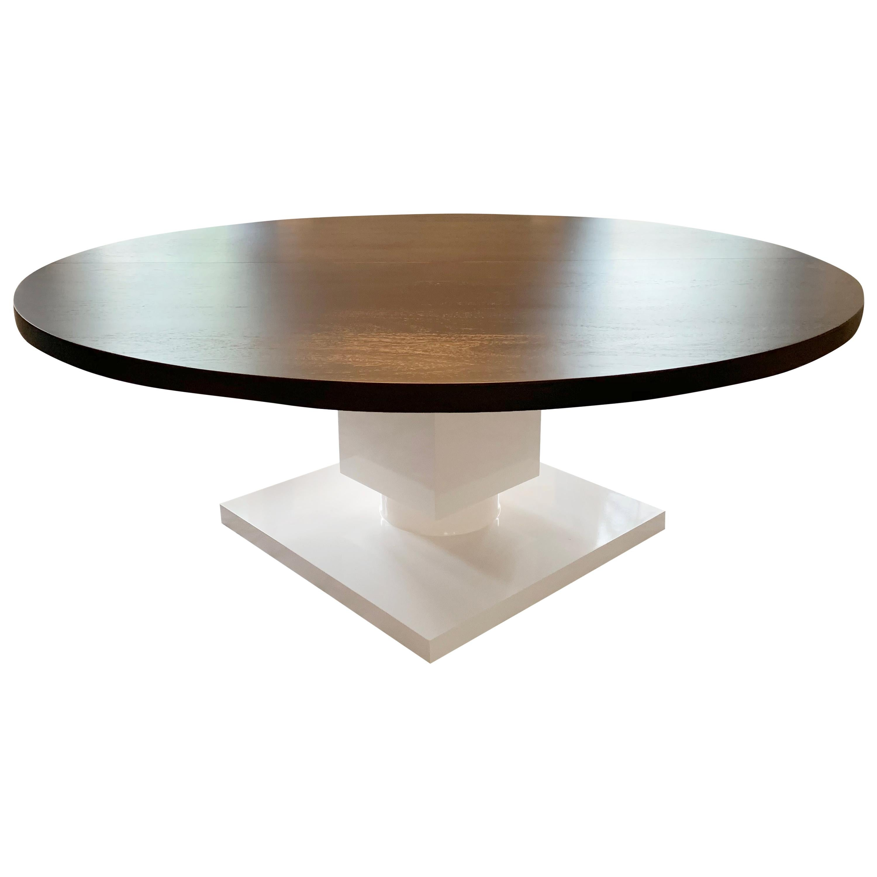 Round Extendable Wenge Dining Table with Cube Pedestal Base