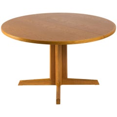 Round Extendable Pedestal Oak Dining Table by N.O. Moller for Gudme Møbelfabrik