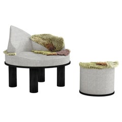 Round Fabric Bench with Pouf from Wild Gardens of Oudolf Collection