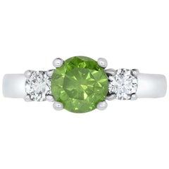 Round Fancy Enhanced HPHT Green Diamond Engagement Ring