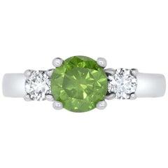 Round Fancy Enhanced HPHT Green Treated Diamond Ring