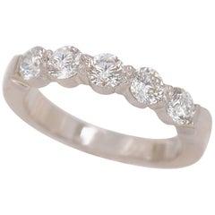 Round Five-Stone Diamond Wedding Band Ring 0.80 Carat Platinum