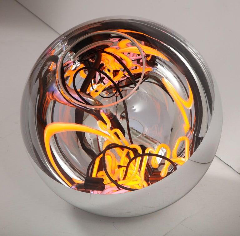 Round floor lamp with neon lights by Brazilian Designer Alê Jordão.