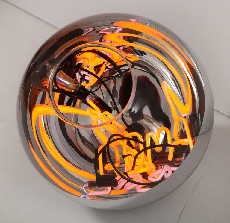 Round Floor Lamp with Neon Lights by Brazilian Designer 2