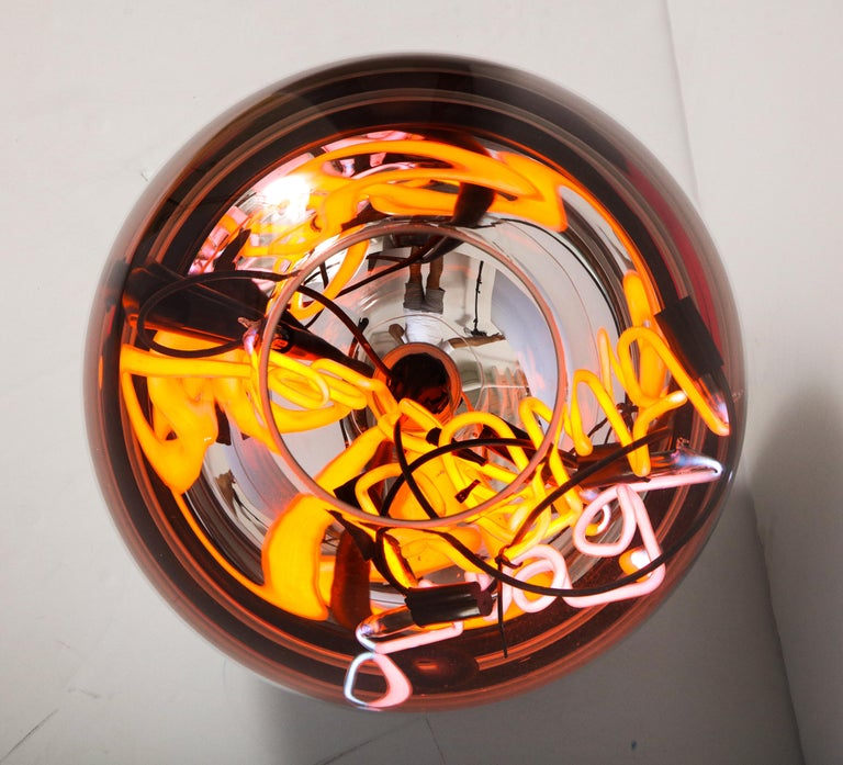 Glass Round Floor Lamp with Neon Lights by Brazilian Designer