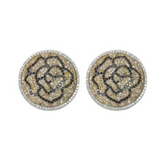 Round Floral Earrings Set with Fancy Colors White Black Diamonds 18 Karat Gold