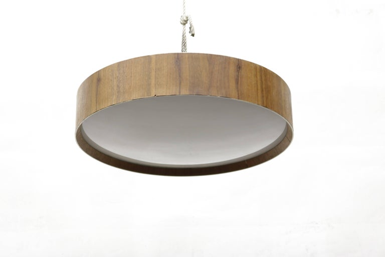 Round flush mount lighting fixture with wood trim and frosted glass diffuser.