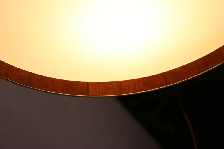 Mid-Century Modern Round Flush Mount Light Fixture with Walnut Trim and Frosted Glass Diffuser For Sale