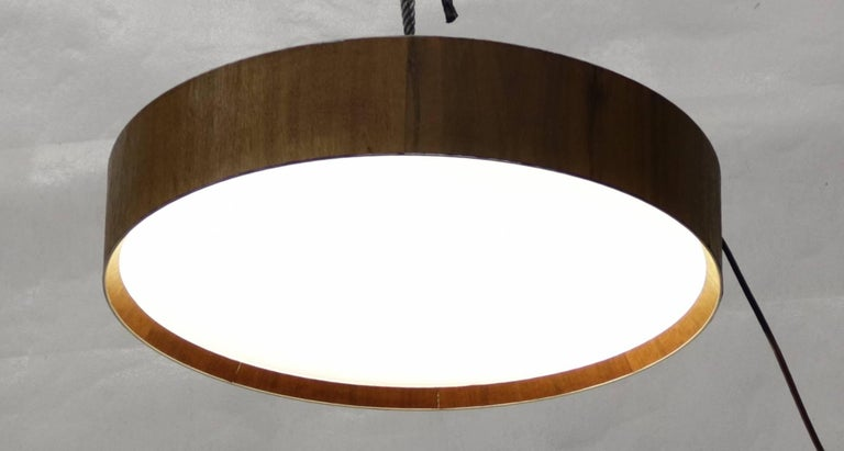 French Round Flush Mount Light Fixture with Walnut Trim and Frosted Glass Diffuser For Sale
