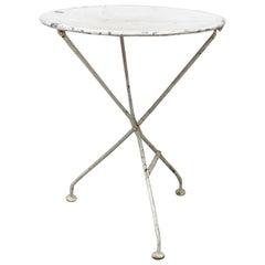 Round Folding Table Patio Garden Bistro Cafe Metal Vintage, French, circa 1960