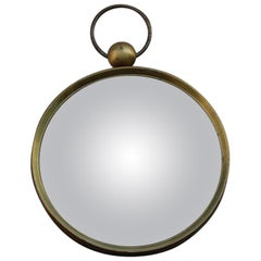 Round Fornasetti Wall Mirror Midcentury Italian Design Brass Gold Glass Green