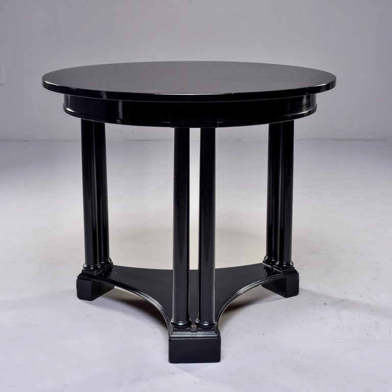 Round French Art Deco Ebonised Side Table In Good Condition For Sale In Troy, MI
