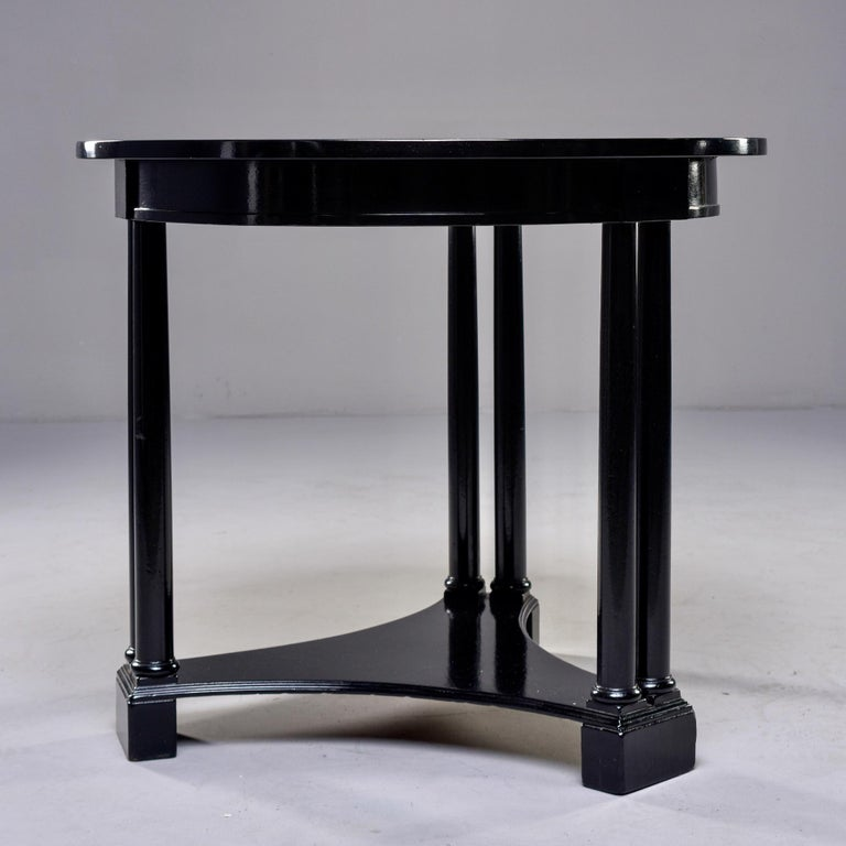 Mahogany Round French Art Deco Ebonised Side Table For Sale