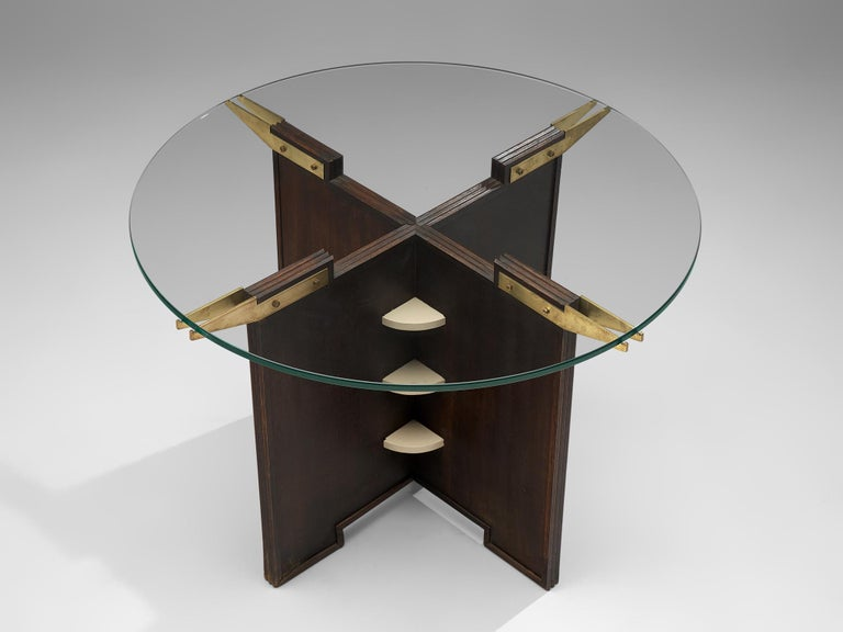 Lacquered Round French Gueridon Table with Glass Top For Sale