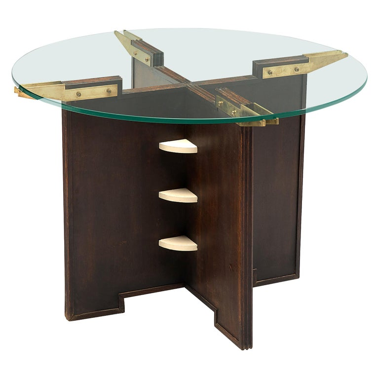 Round French Gueridon Table with Glass Top For Sale
