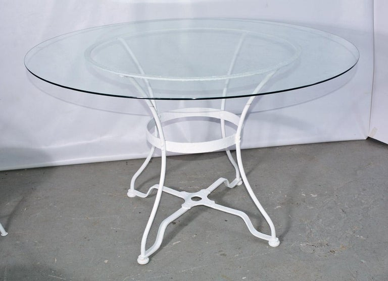 Astonishing Round French Iron And Glass Outdoor Garden Dining Table Home Remodeling Inspirations Genioncuboardxyz
